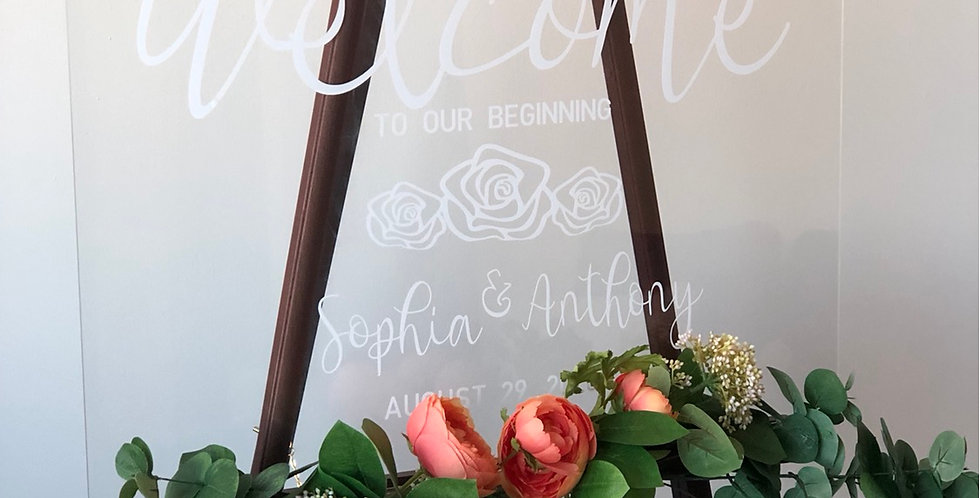 Welcome To Our Beginning w/ Rose Flower, Acrylic Wedding Sign