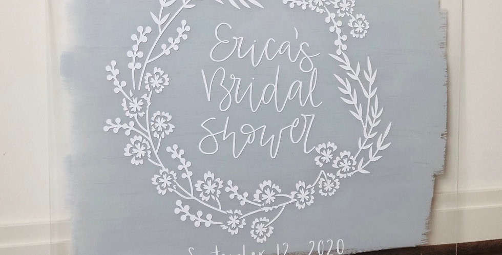 Welcome Sign, Floral Wreath-Acrylic Wedding Sign