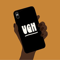 """A mustard yellow background with an illustration of a hand holding a mobile phone. A black phonecase is visible and features white handwritten text in the centre that reads """"ugh"""". The hand's skinone is dark and the nails are short and natural."""