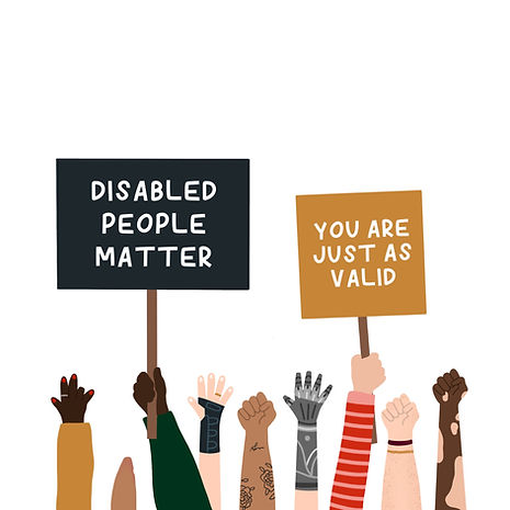 """An illustration of hands holding up signs in protest. The hands are of varying skintone, with visibile differences and/or disabilities. Some hands don't have 5 fingers, not all arms have hands, one hand is in a brace, one is a bionic prosthetic and one has visible vitiligo. The signs read """"disabled people matter"""" and """"you are just as valid"""""""