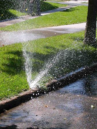 Broken, leaky, leaking sprinkler