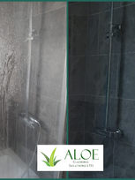 Limescale removal off shower glass, eco
