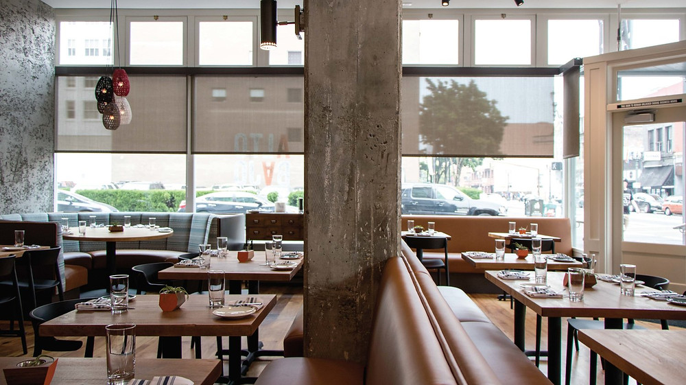 board formed concrete, mexican restaurant portland oregon, jessica helgerson restaurant, restaurant design, concrete column, leather booth