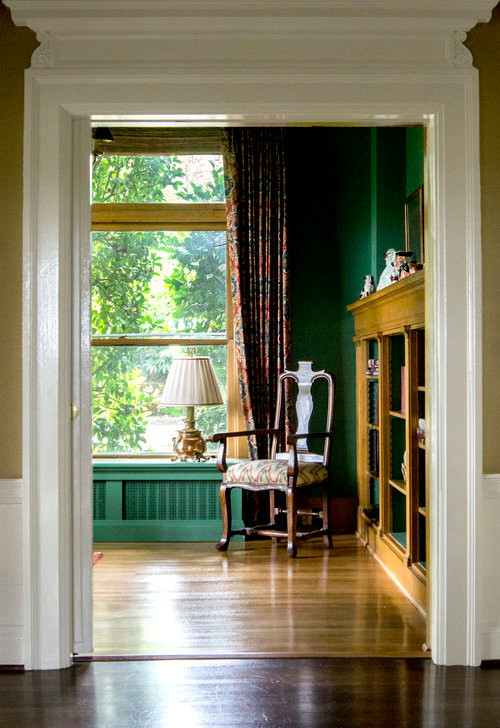 historic portland interiors, portland architecture, classic home office,  historic door frame,