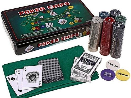 Набор 300 фишек Poker Chips метал. коробка, 4 гр (номинал)