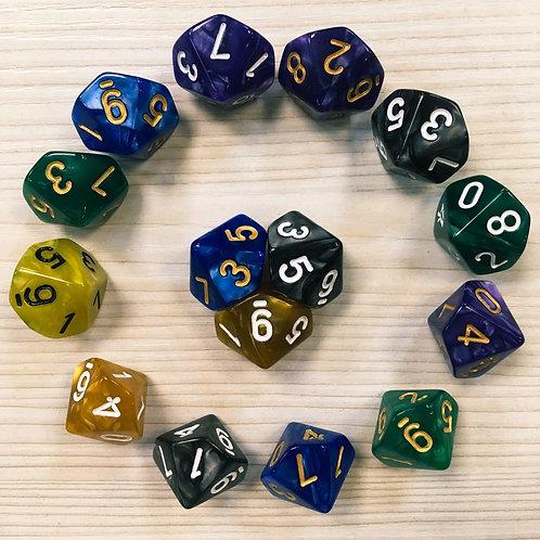D10 (кубик 10 граней, цветной)
