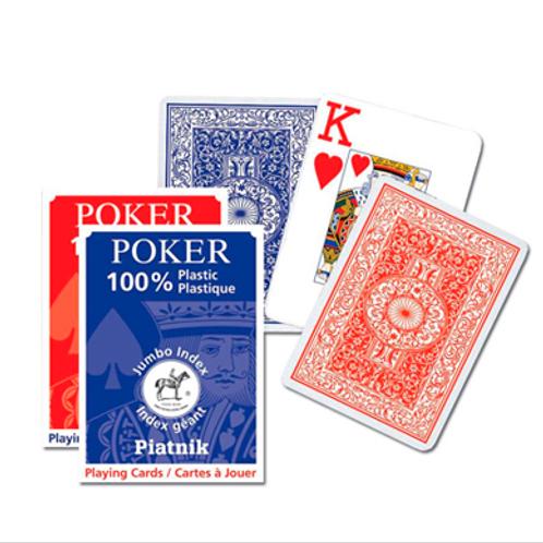 Игральные карты 100% Пластик-Покер, джамбо Индекс (55 листов)