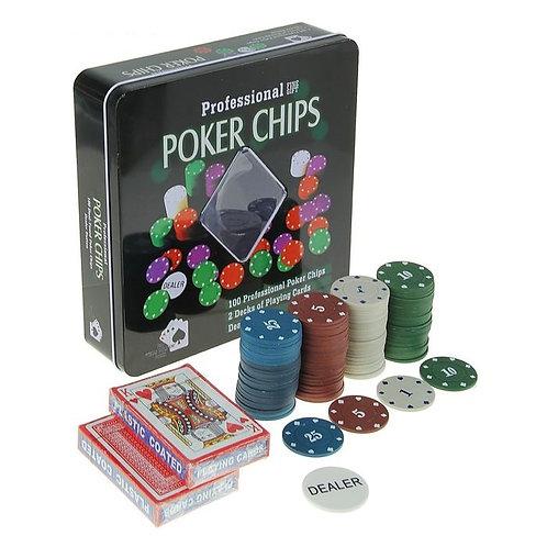 Набор 100 фишек Professional Poker Chips квадрат. метал. коробка, 4 гр (без номи