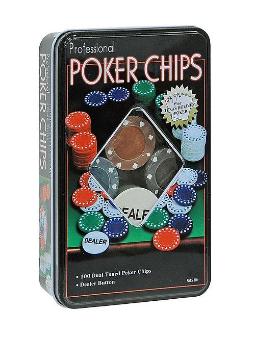 Набор 100 фишек Professional Poker Chips прямоуг. метал. коробка, 4 гр (номинал)
