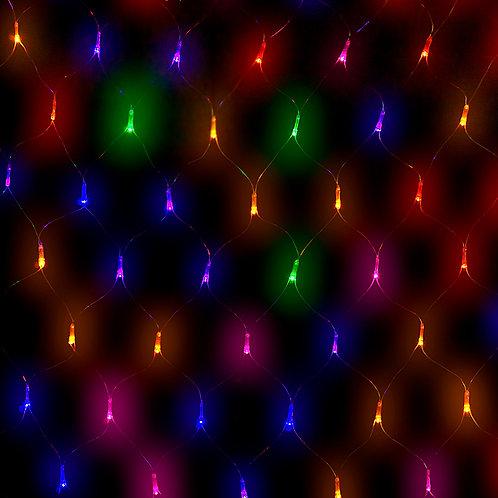 Red de Luces de Colores - Cable Transparente
