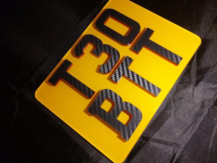 4d Neon Carbon 7x5 motorbike plate