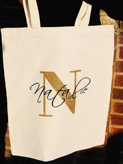 Cotton Tote Bag - Initial & Name
