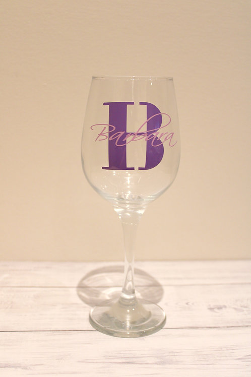 Initial & Name Style Wine Glass