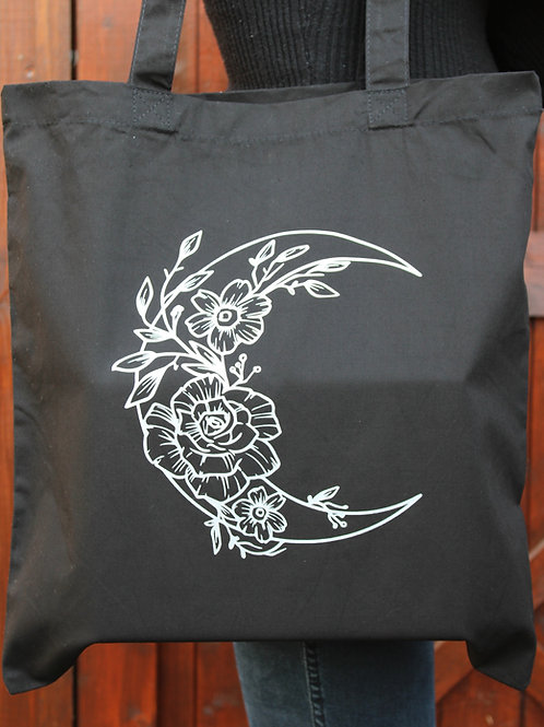 Cotton Tote Bag - Moon Flower