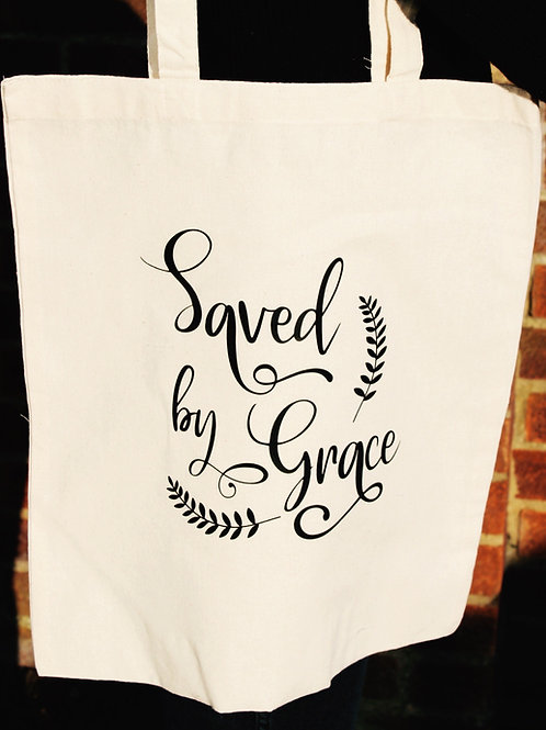 Cotton Tote Bag - Saved by Grace