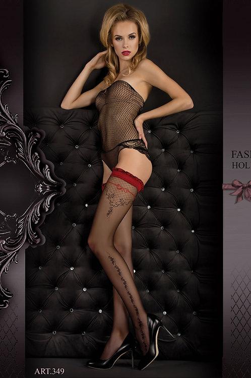 Ballerina 349 Hold Ups Nero (Black) / Red