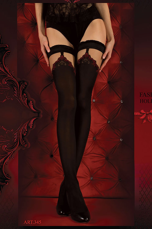 Ballerina 345 Hold Ups Nero (Black) / Red