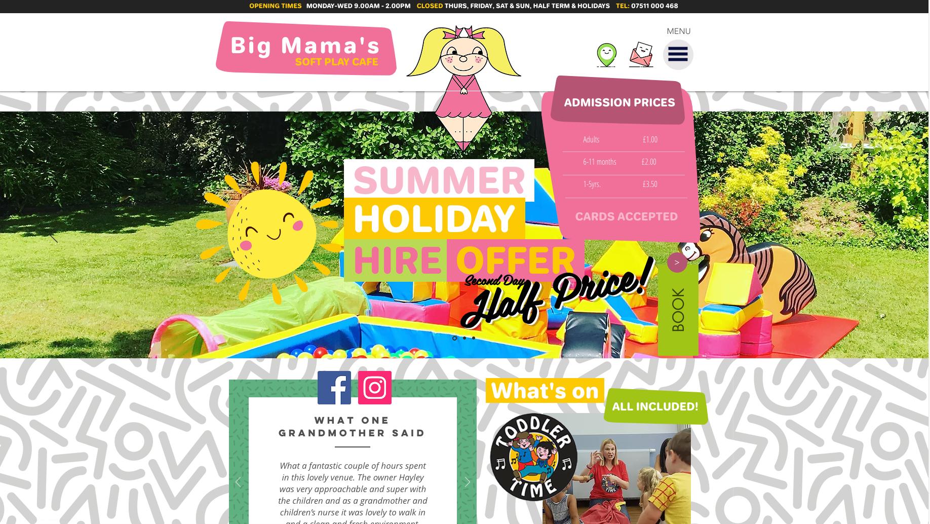Big Mama's Soft Play Cafe - website design