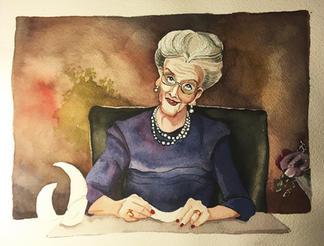 Akvarel af Dronning Daisy