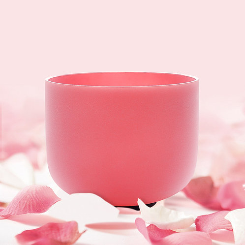 F Note Heart Chakra Pink Colored Frosted Quartz Crystal Singing Bowl