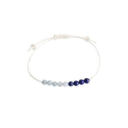 Aquamarine, Angelite & Lapis Lazuli + Hemp + Choice of Anklet or Bracelet