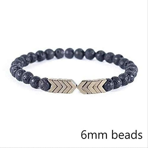 Brass Arrows and Lava Stones Bracelet