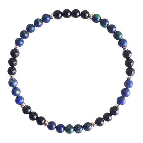 Azurite Malachite, Lapis Lazuli & Black Onyx Sterling Silver Bracelet