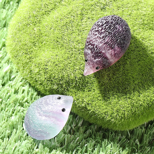 Rainbow Fluorite Carved Hedgehog