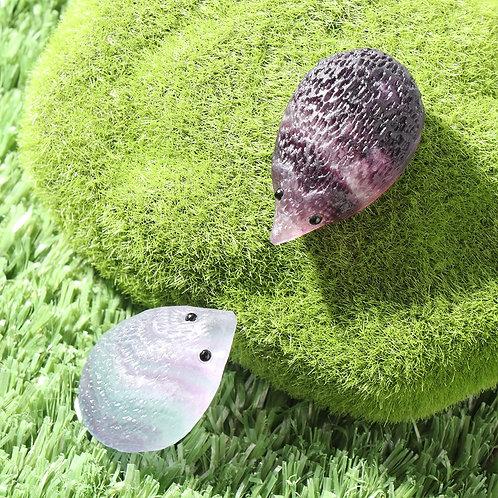 Rainbow Fluorite Carved Hedgehog