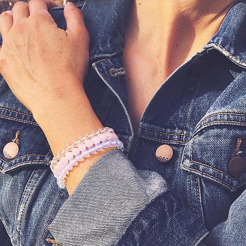 Crystal Quartz, Opalite & Rose Quartz Bracelet Set