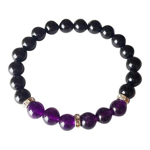 Black Onyx & Amethyst Sterling Silver Bracelet
