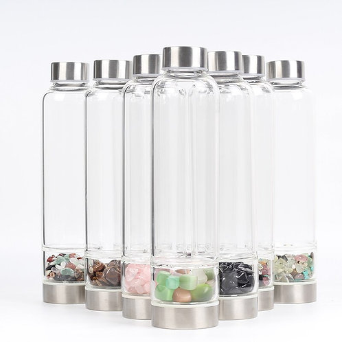 Tumbled Crystal Glass Water Bottle