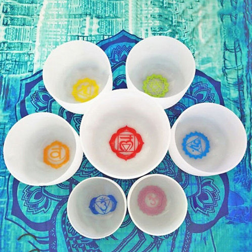 "Chakra  8""-12"" Set With Paternoster of 7pcs Crystal Singing Bowls"