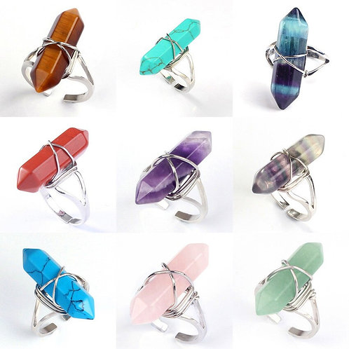Wire Wrapped Hexagon Crystal Rings