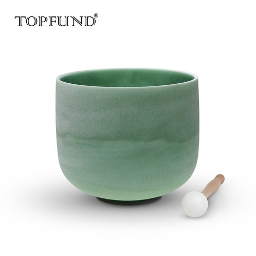 Emerald Fusion G# Note Frosted Quartz Crystal Singing Bowl 8""