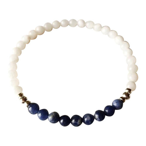 Sodalite and White Moonstone Sterling Silver Bracelet