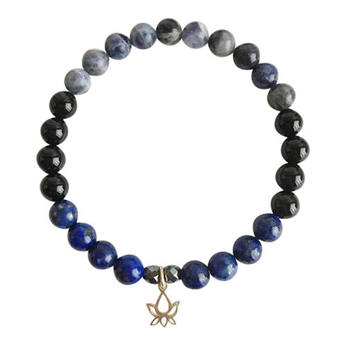 Black Onyx, Hematite, Lapis Lazuli and Sodalite Sterling Silver Bracelet