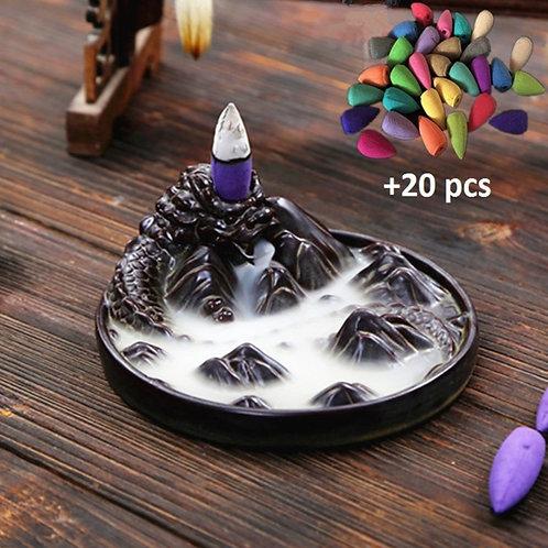 Dragon & Mountains Backflow Incense Burner