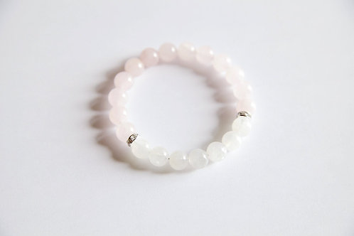 Rose Quartz & Rainbow Moonstone Sterling Silver Bracelet