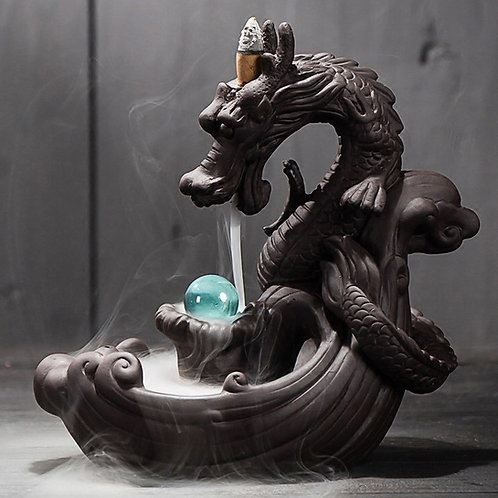 Dragon With Crystal Ball Backflow Incense Holder