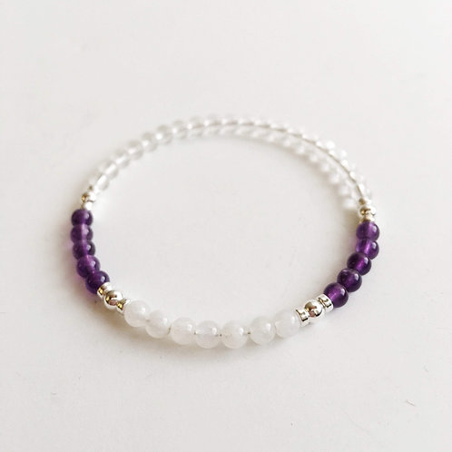 Amethyst, Crystal Quartz and Moonstone Bracelet