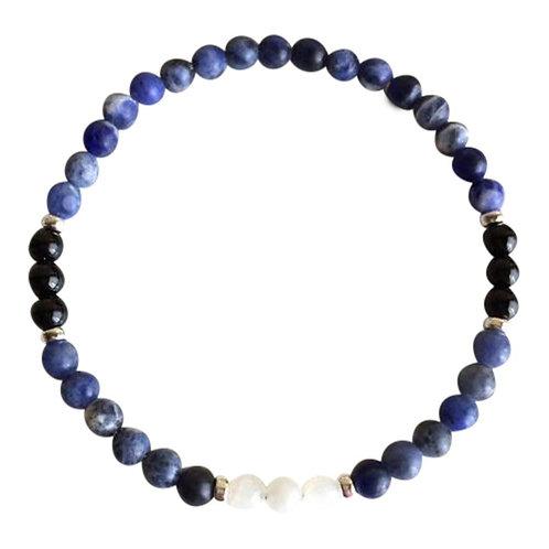 Moonstone, Sodalite & Black Tourmaline Sterling Silver Bracelet