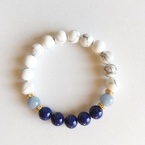 Angelite, Lapis Lazuli & White Howlite Bracelet
