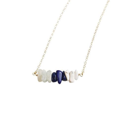 Aquamarine, Sodalite and White Howlite Gemstone Necklace