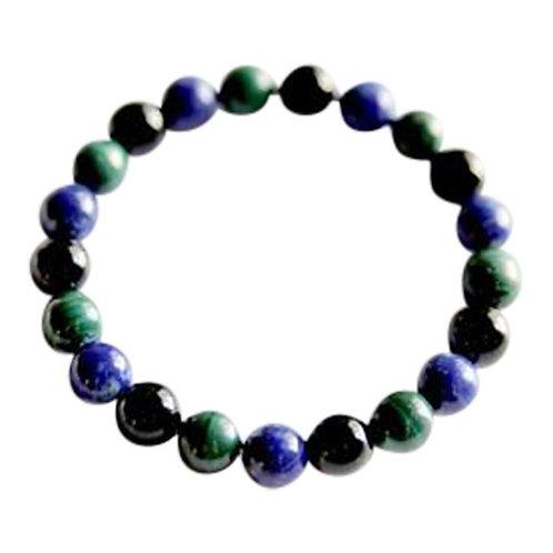 Black Onyx, Lapis Lazuli & Malachite Bracelet