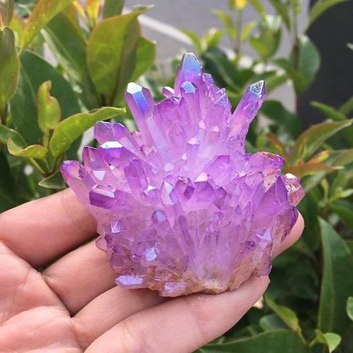 Purple Flame Aura Quartz Crystal Cluster