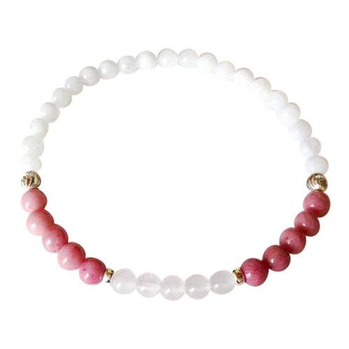 Moonstone, Rhodonite & Rose Quartz Sterling Silver Bracelet
