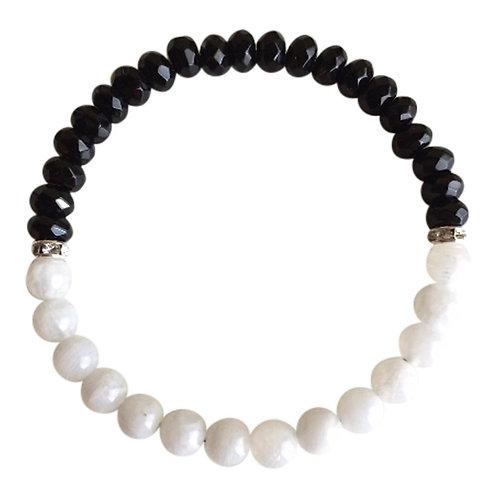 Moonstone & Faceted Black Onyx Bracelet
