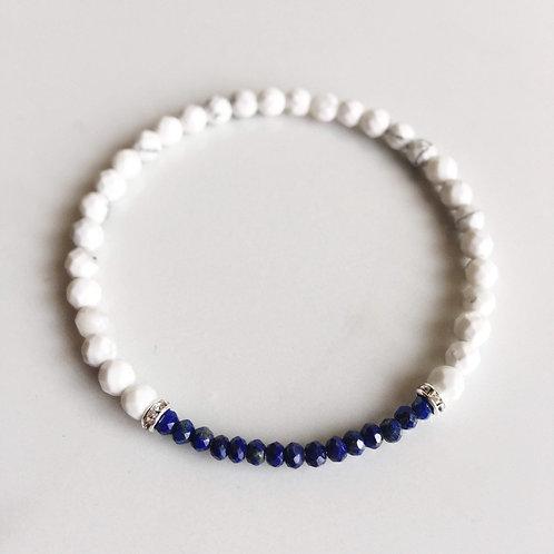 White Howlite Lapis Lazuli Bracelet