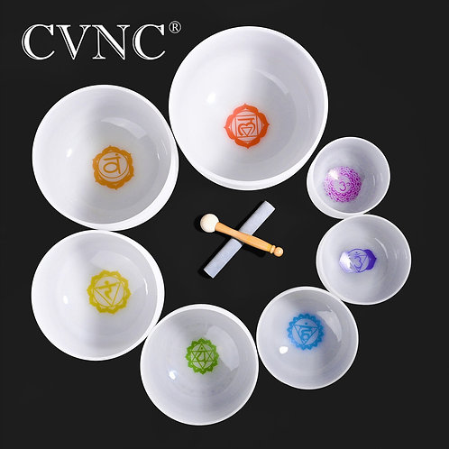 7 Chakra Frosted Quartz Crystal Singing Bowl